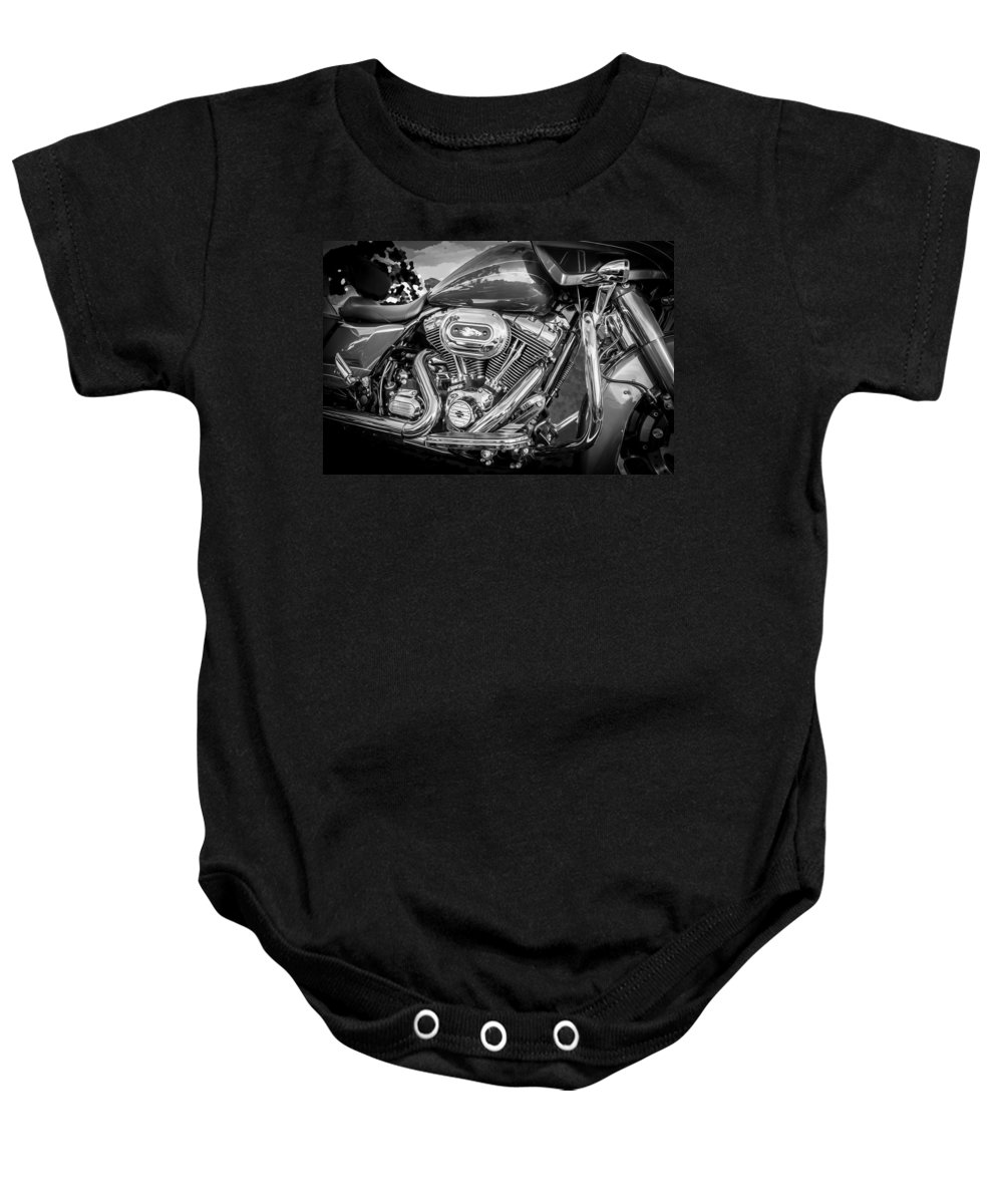 Motorcycle Baby Onesie featuring the photograph Harley Davidson Motorcycle Harley Bike Bw by Rich Franco