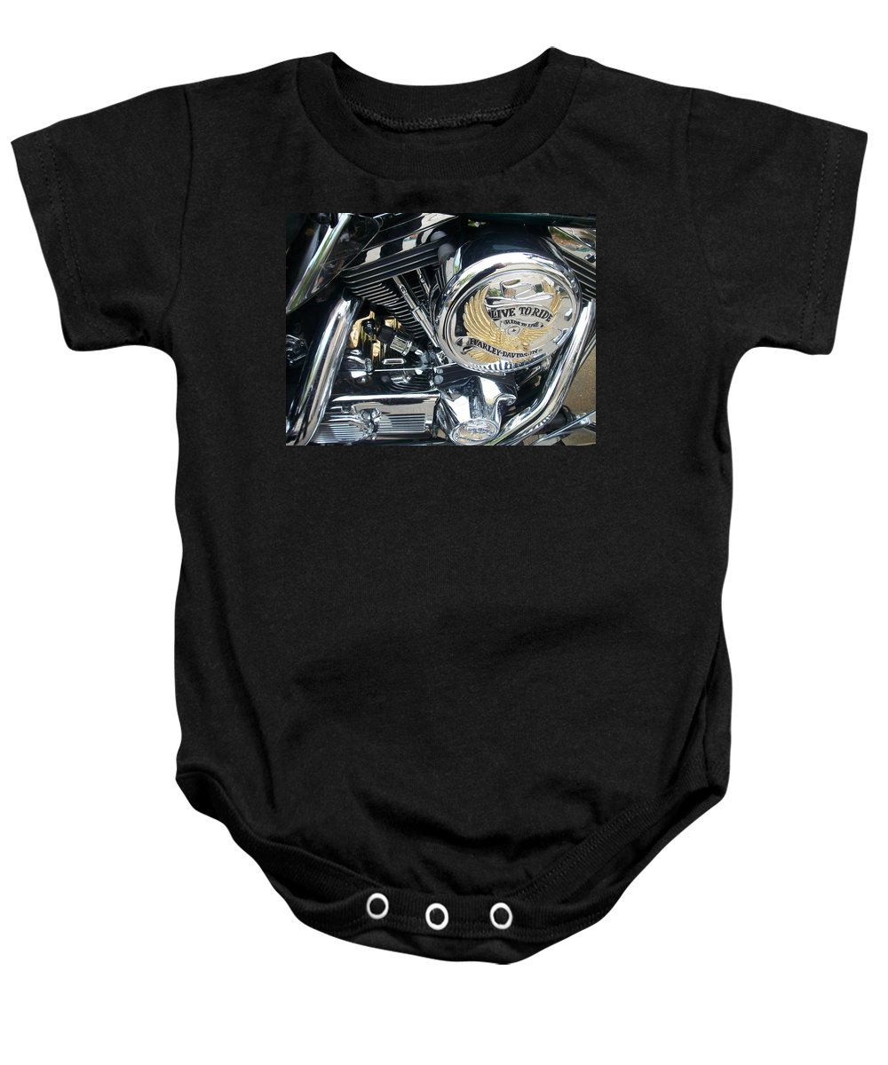 Motorcycles Baby Onesie featuring the photograph Harley Live To Ride by Anita Burgermeister