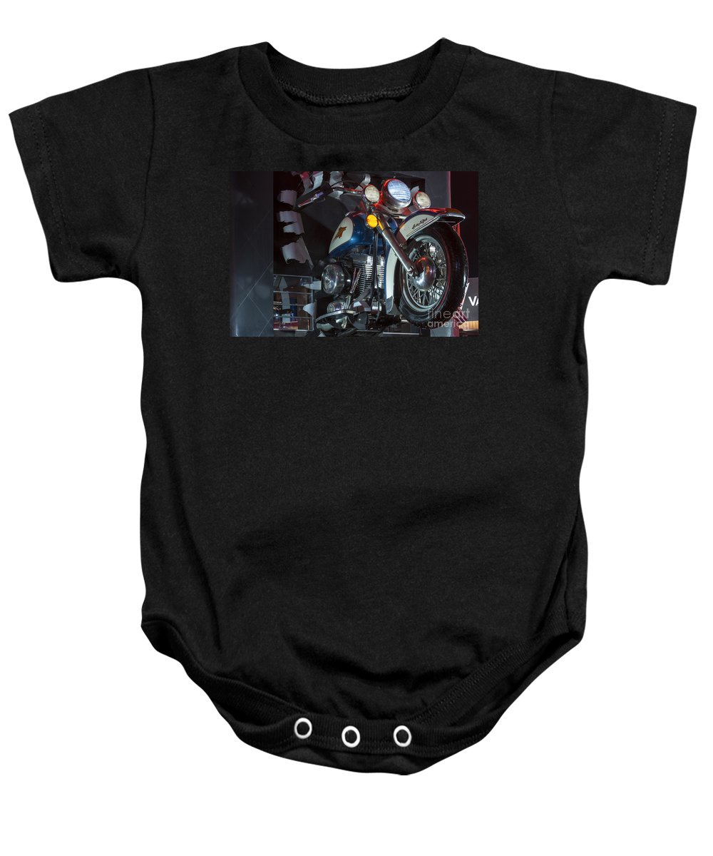 Las Vegas Nevada Harley Davidson Display Displays Motorcycle Motorcycles Store Stores Still Life Baby Onesie featuring the photograph Harley Of Vegas by Bob Phillips