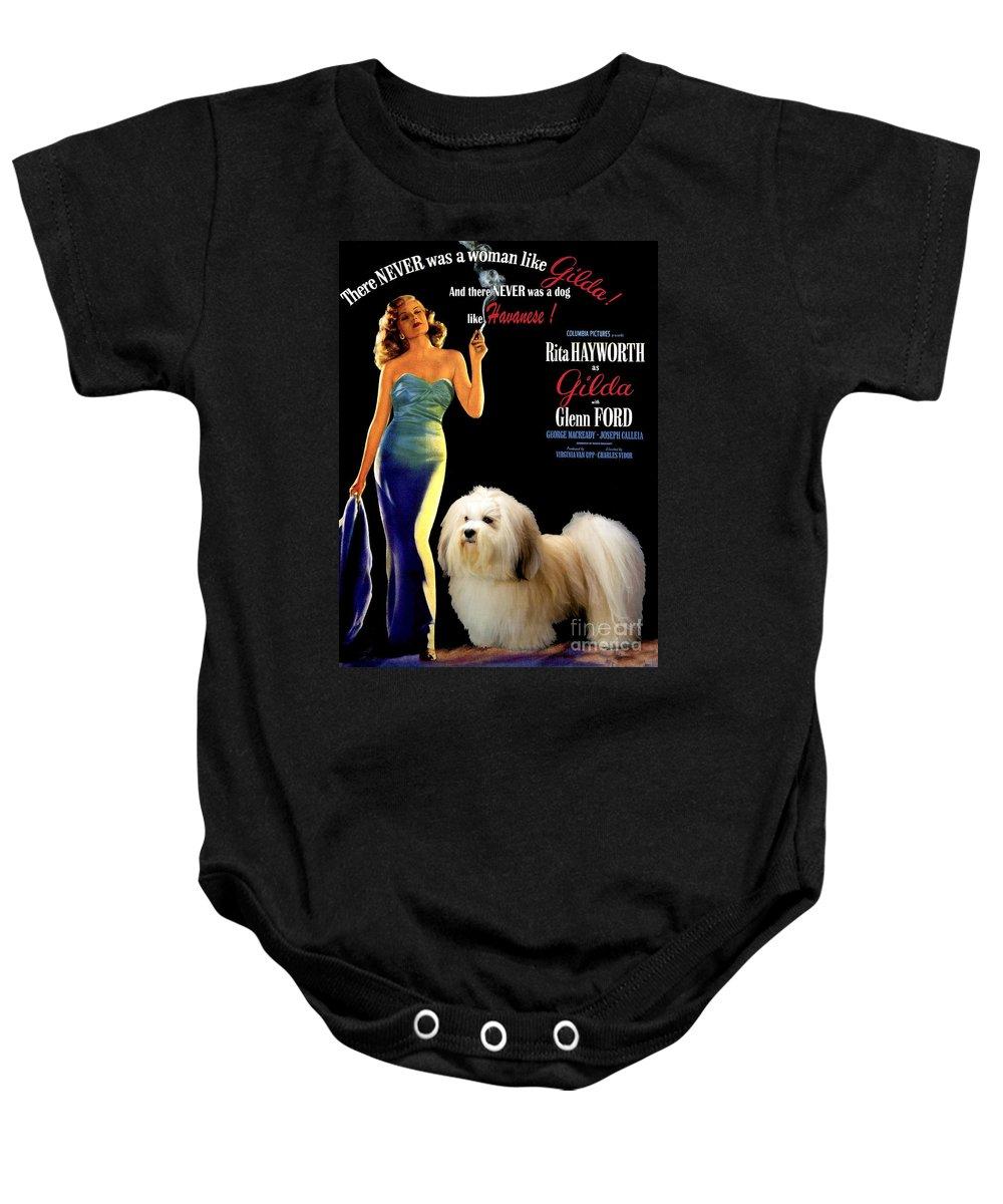 Dog Baby Onesie featuring the painting Havanese Art - Gilda Movie Poster by Sandra Sij