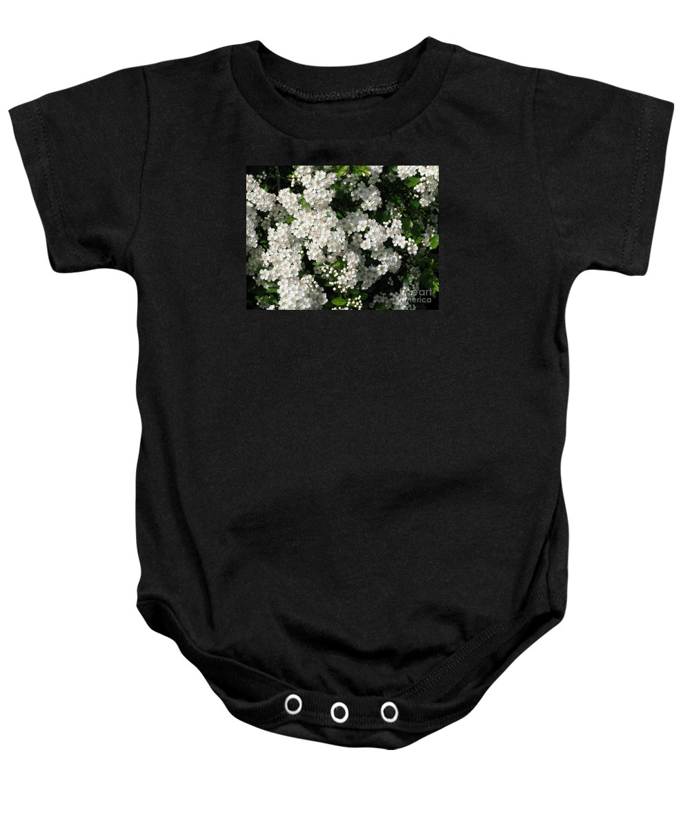 Hawthorn Baby Onesie featuring the photograph Hawthorn In Bloom by Ann Horn