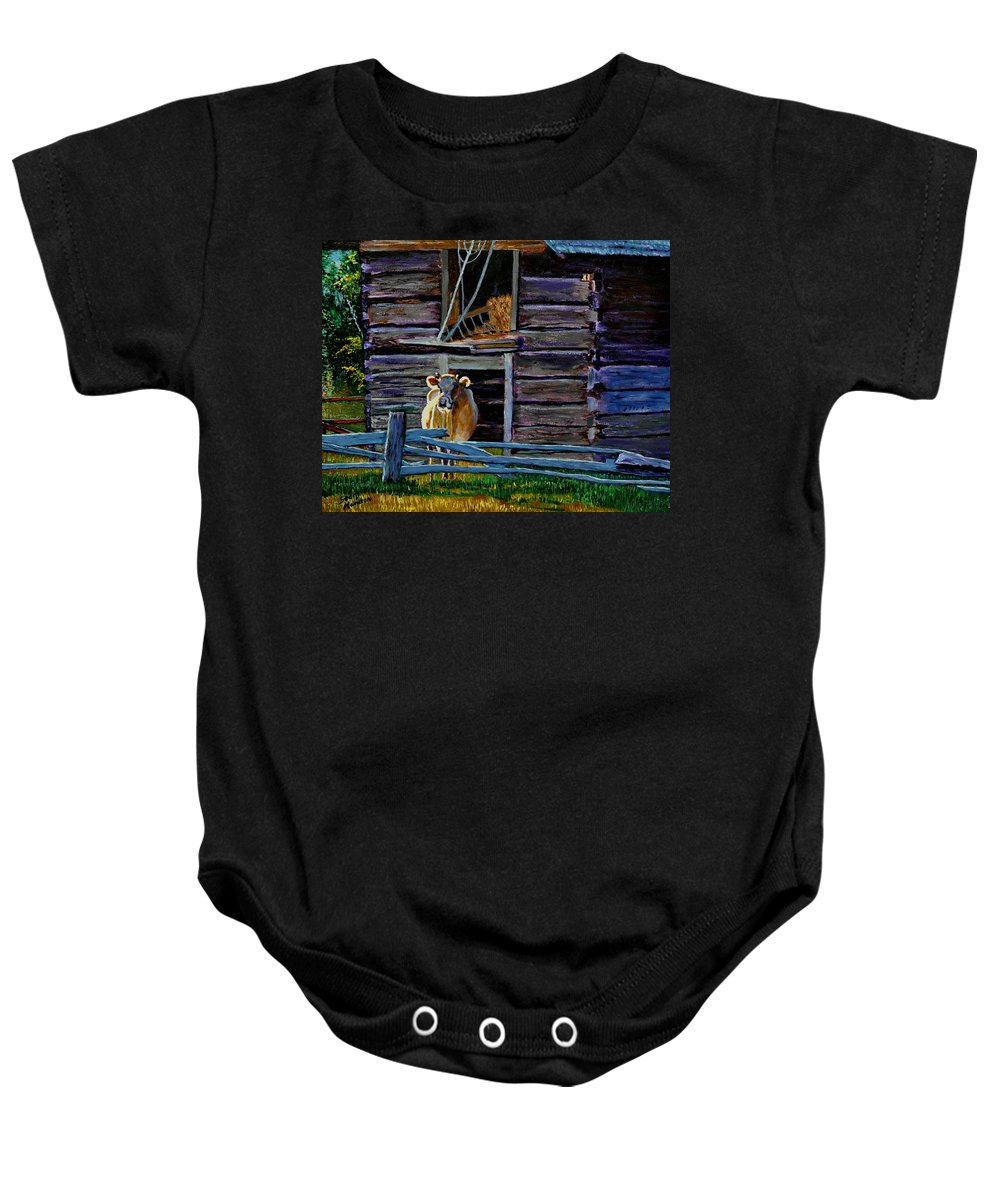 Cow Baby Onesie featuring the painting Hdemo2 by Stan Hamilton