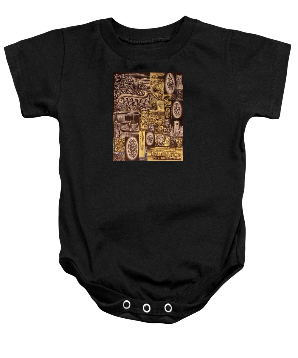 Pen Baby Onesie featuring the drawing He Always Travels Alone by Stuart Swartz