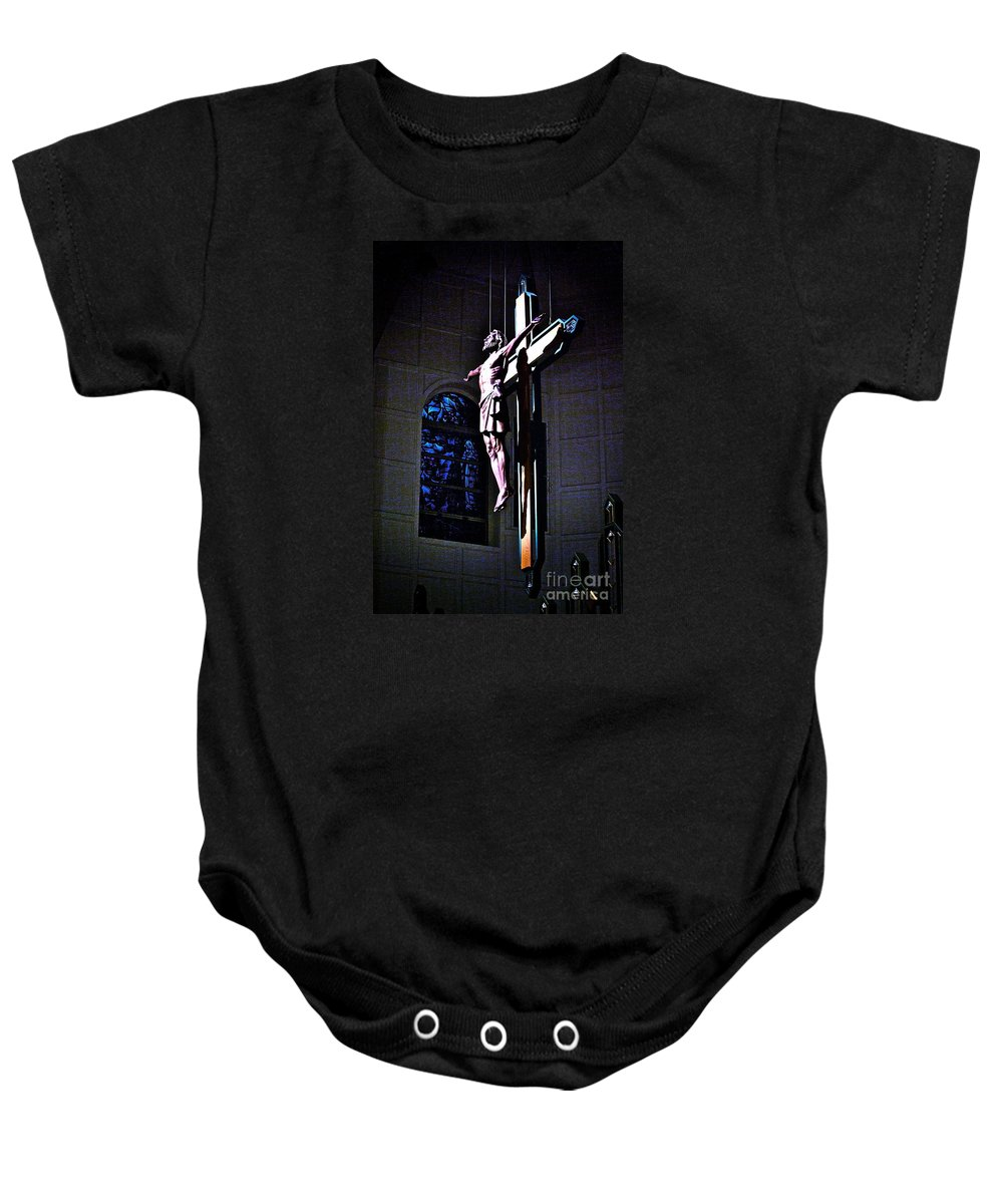 Resurrected Christ Baby Onesie featuring the photograph He Has Covered Himself In Glory by Frank J Casella