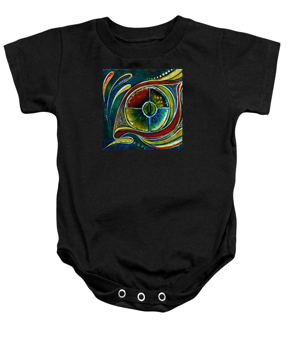 Deborha Kerr Baby Onesie featuring the painting Healer Spirit Eye by Deborha Kerr