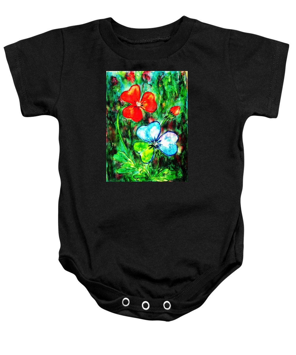 Shamrocks Baby Onesie featuring the painting Heart Flowers by Hazel Holland