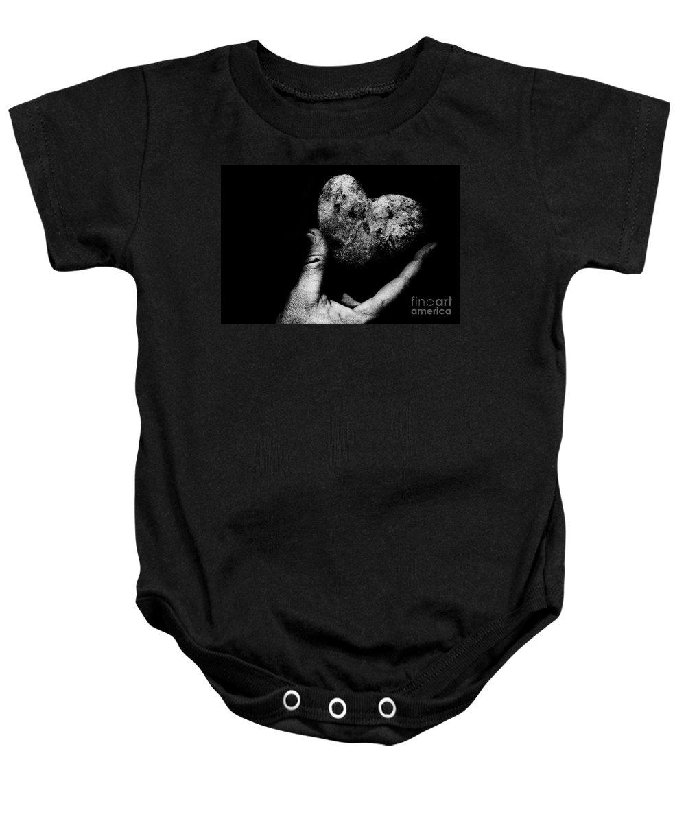 Black Baby Onesie featuring the photograph Heart Shaped Rock by Jessica Shelton