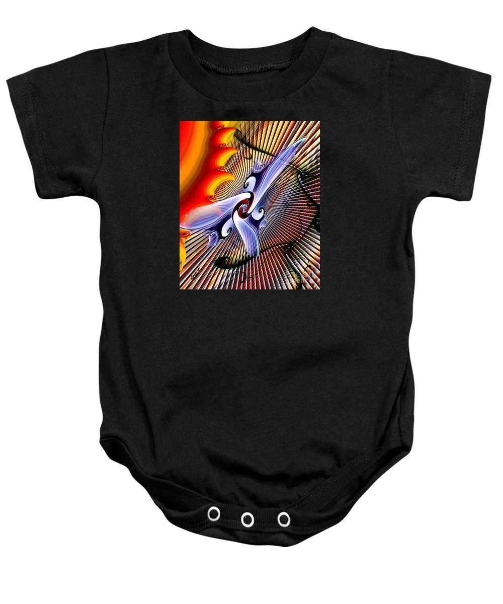 Helios Baby Onesie featuring the digital art Helios by Kimberly Hansen