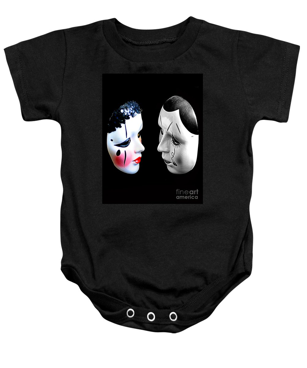 Mask Baby Onesie featuring the photograph Hello by Bruce Bain