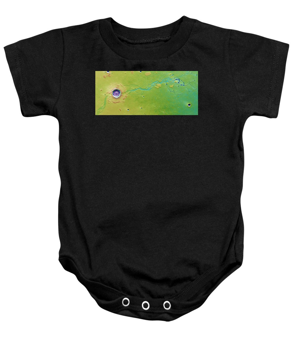 Science Baby Onesie featuring the photograph Hephaestus Fossae, Mars by Science Source