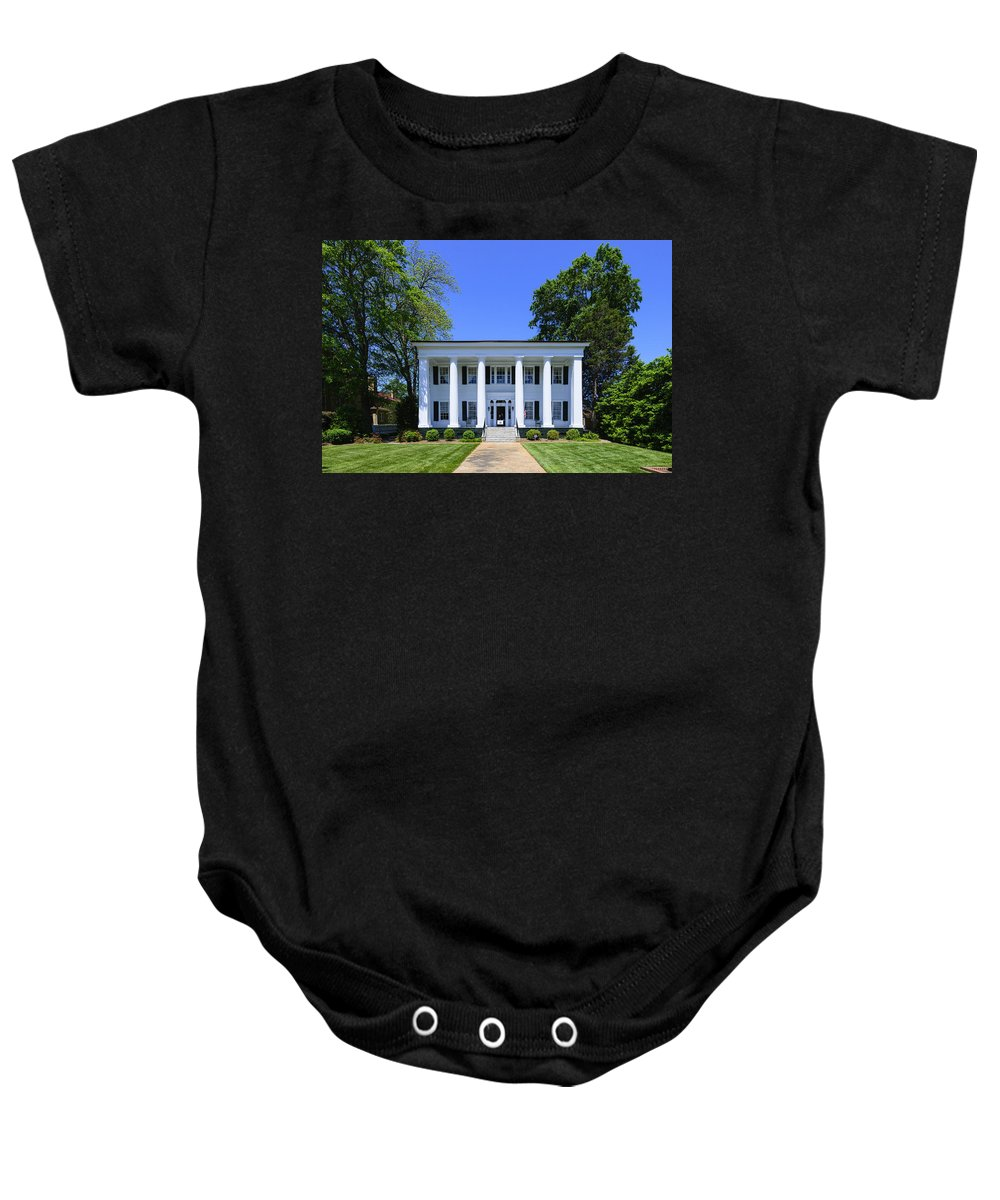History Baby Onesie featuring the photograph Heritage Hall In Madison Georgia by Steve Samples