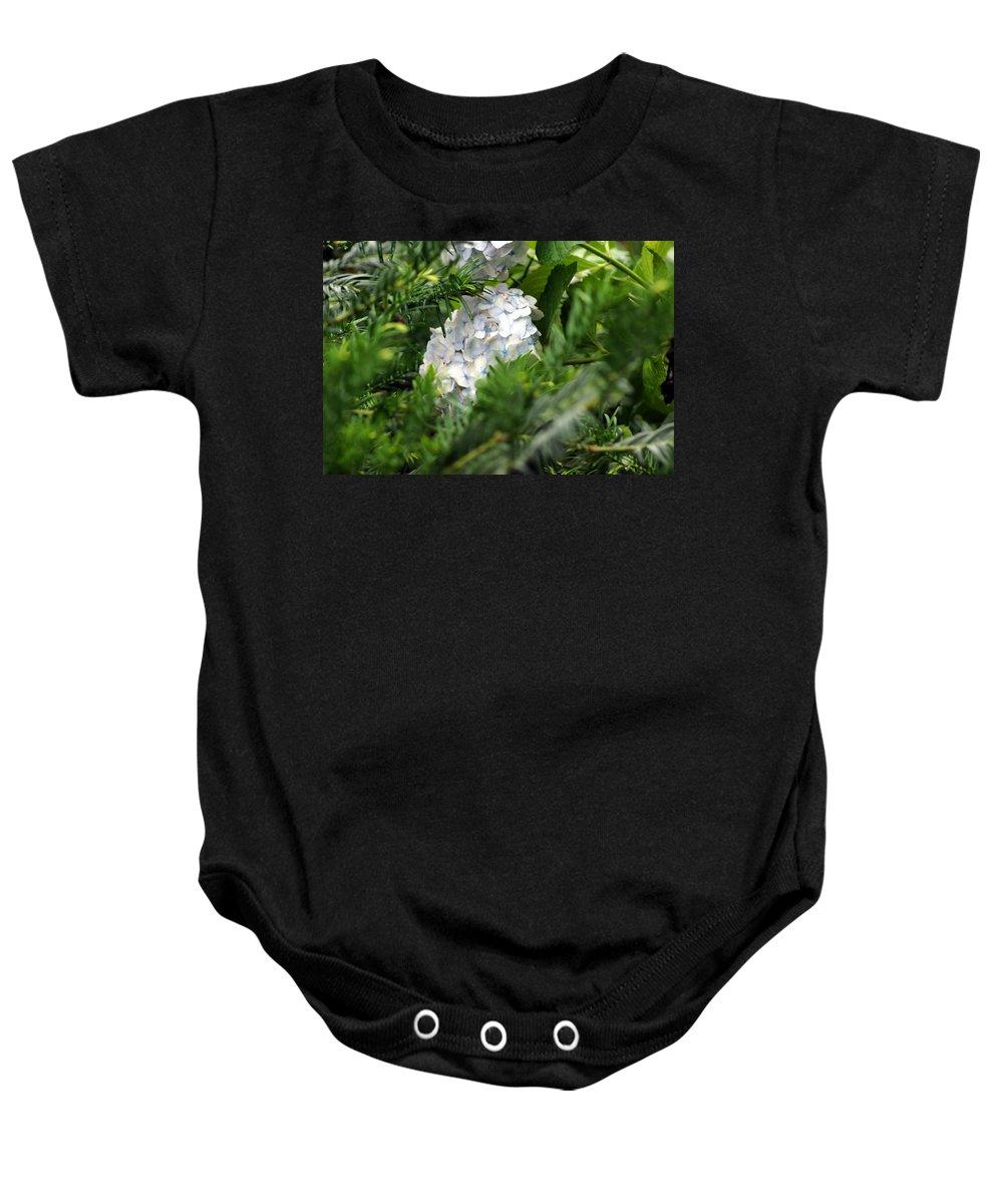 Hiding Hydrangea Baby Onesie featuring the photograph Hiding Hydrangea by Kim Pate