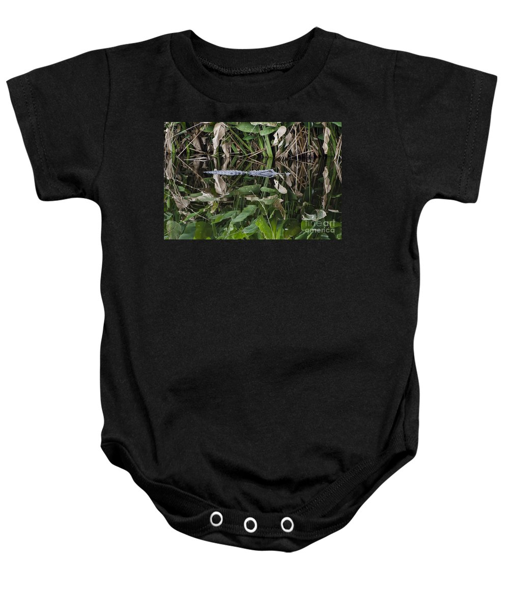Water Baby Onesie featuring the photograph Hiding by Judy Wolinsky