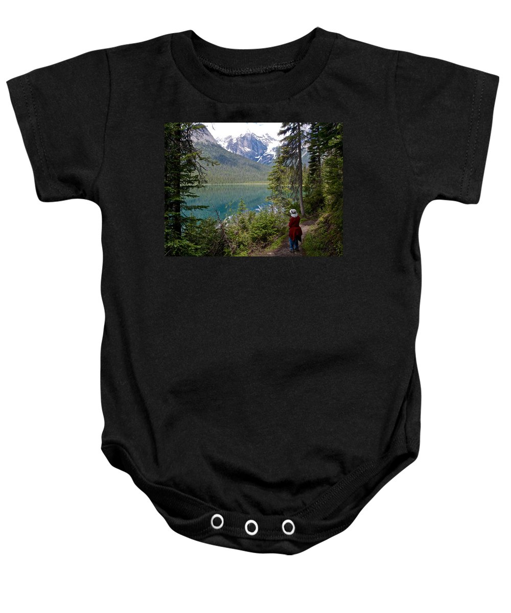 Hiking On Emerald Lake Trail In Yoho Np Baby Onesie featuring the photograph Hiking On Emerald Lake Trail In Yoho Np-bc by Ruth Hager
