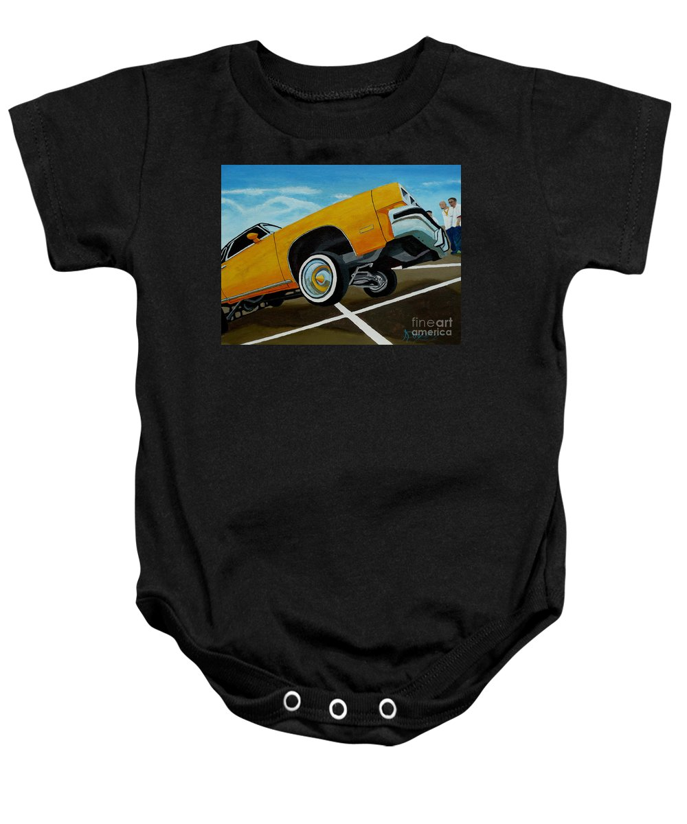 Chevy Baby Onesie featuring the painting Hip Hoppin Chevy by Anthony Dunphy