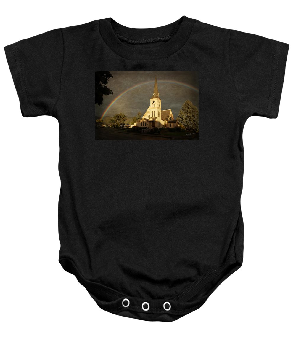 Methodist Church Baby Onesie featuring the photograph Historic Methodist Church In Rainbow Light by Mick Anderson