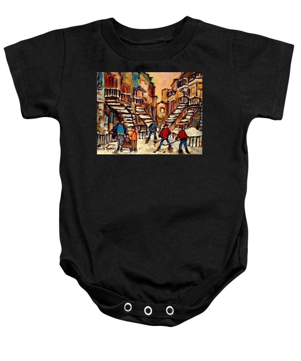Montreal Baby Onesie featuring the painting Hockey Game Near Winding Staircases Montreal Streetscene by Carole Spandau