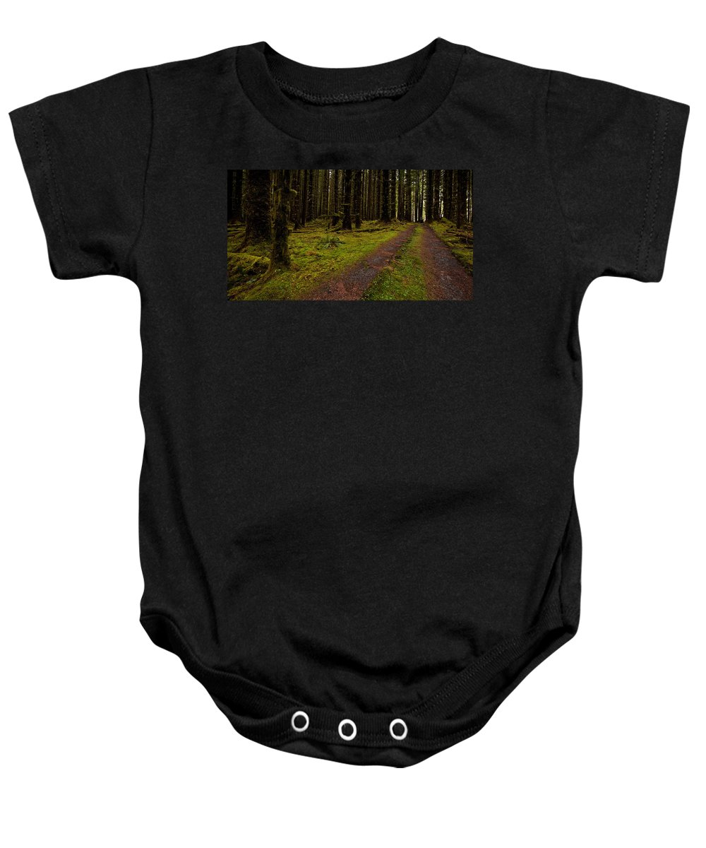 Hoh Rainforest Baby Onesie featuring the photograph Hoh Rainforest Road by Mike Reid