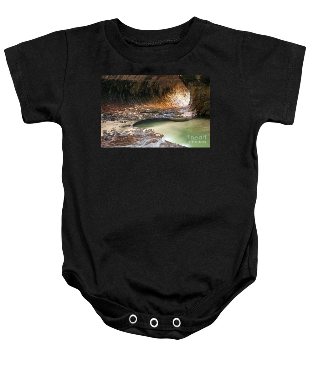 The Subway Left Fork North Creek Trail Zion National Park Utah Trails Water Rock Hole Holes Pool Pools Underground Waterscape Waterscapes Landscape Landscapes Baby Onesie featuring the photograph Hole In The Wall by Bob Phillips