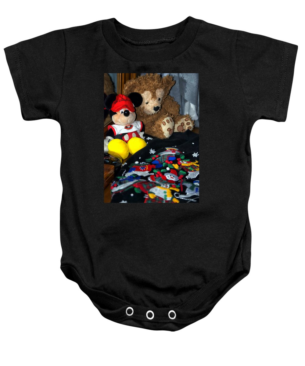 Fantasy Baby Onesie featuring the photograph Holiday Bear by Thomas Woolworth