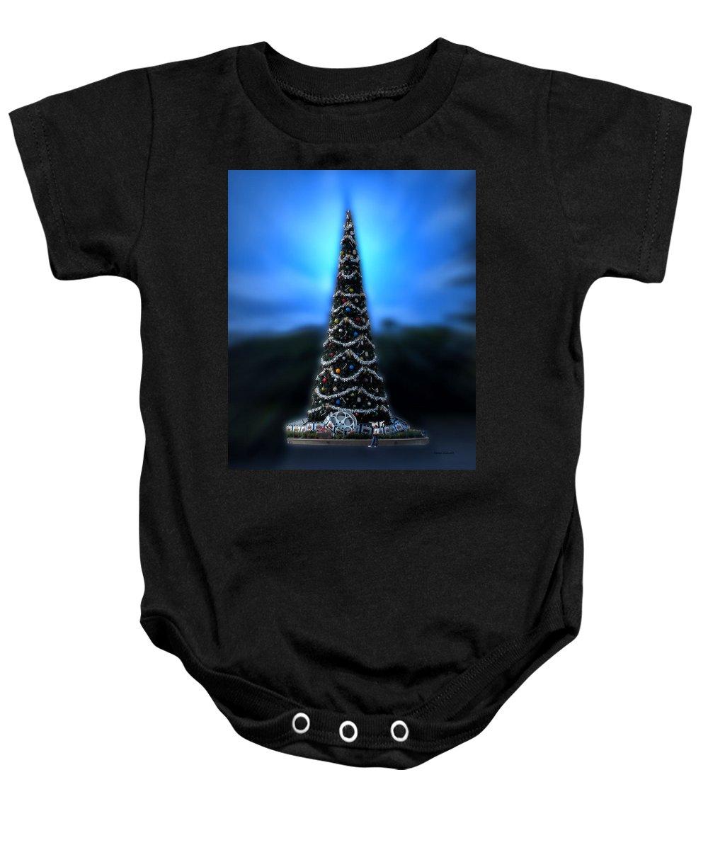 Magic Kingdom Baby Onesie featuring the photograph Hollywood Xmas Tree Walt Disney World by Thomas Woolworth