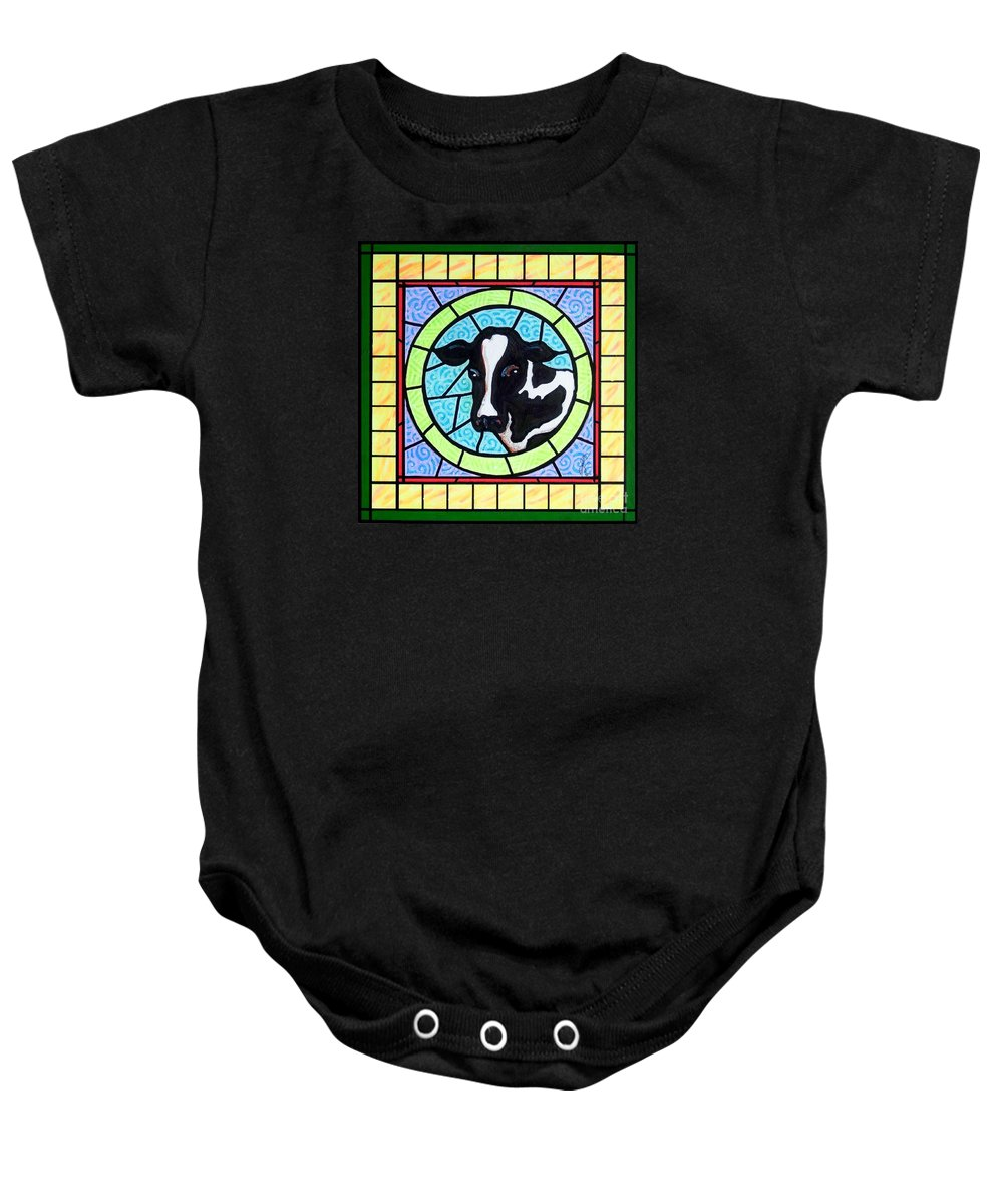 Cattle Baby Onesie featuring the painting Holstein 4 by Jim Harris