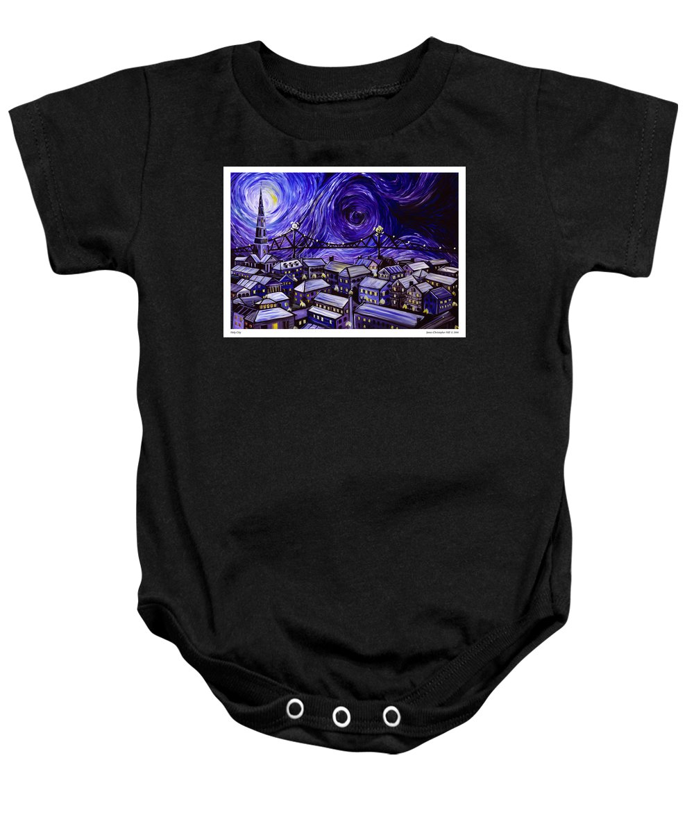 Nature Baby Onesie featuring the painting Holy City by James Christopher Hill