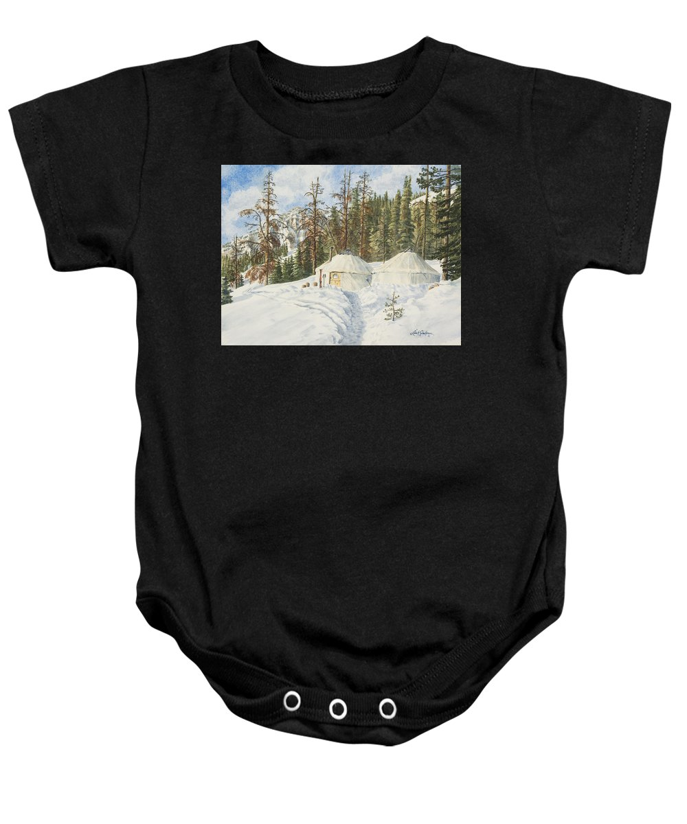 Ski Baby Onesie featuring the painting Home by Link Jackson