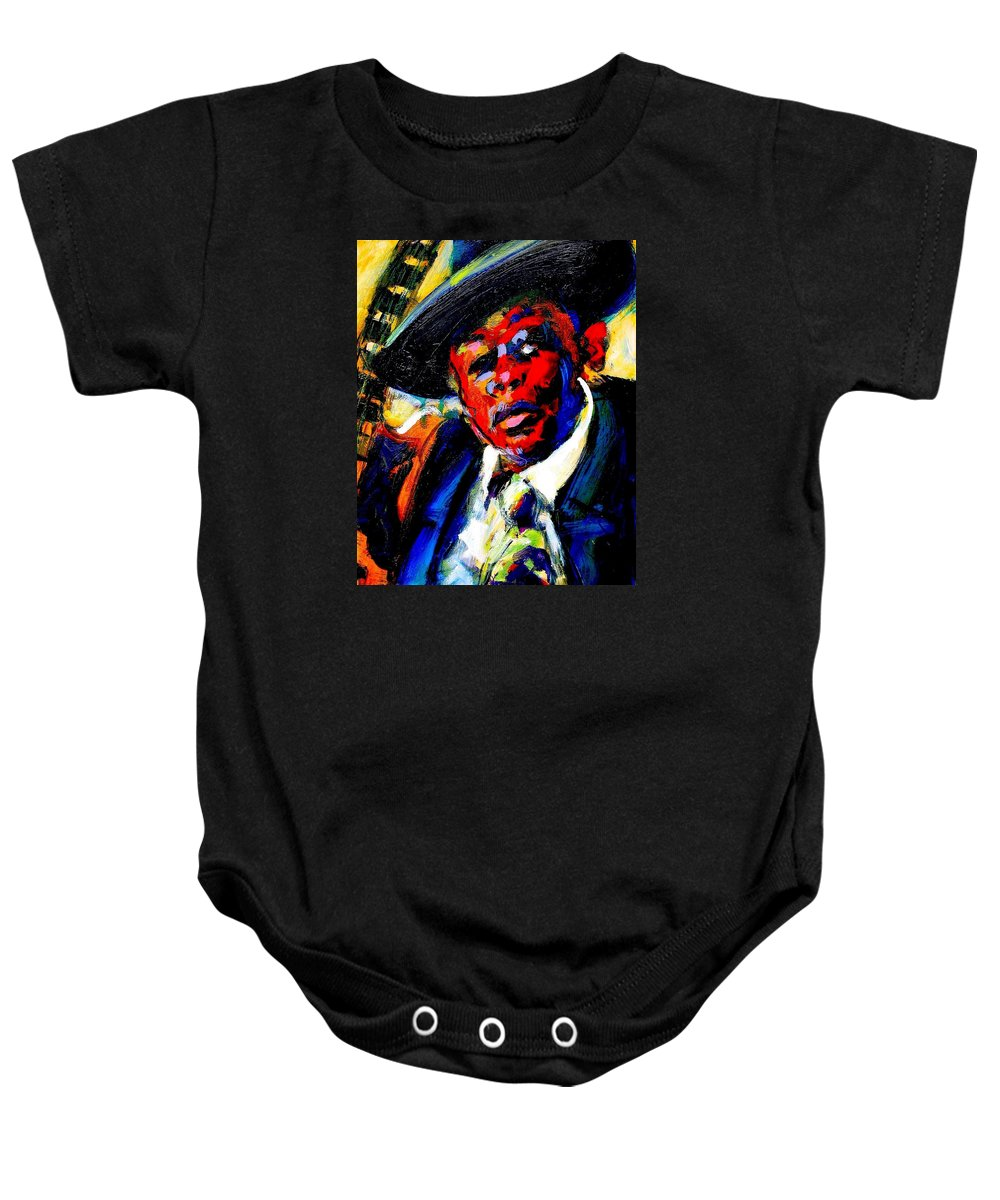 John Lee Hooker Baby Onesie featuring the painting Hooker by Les Leffingwell