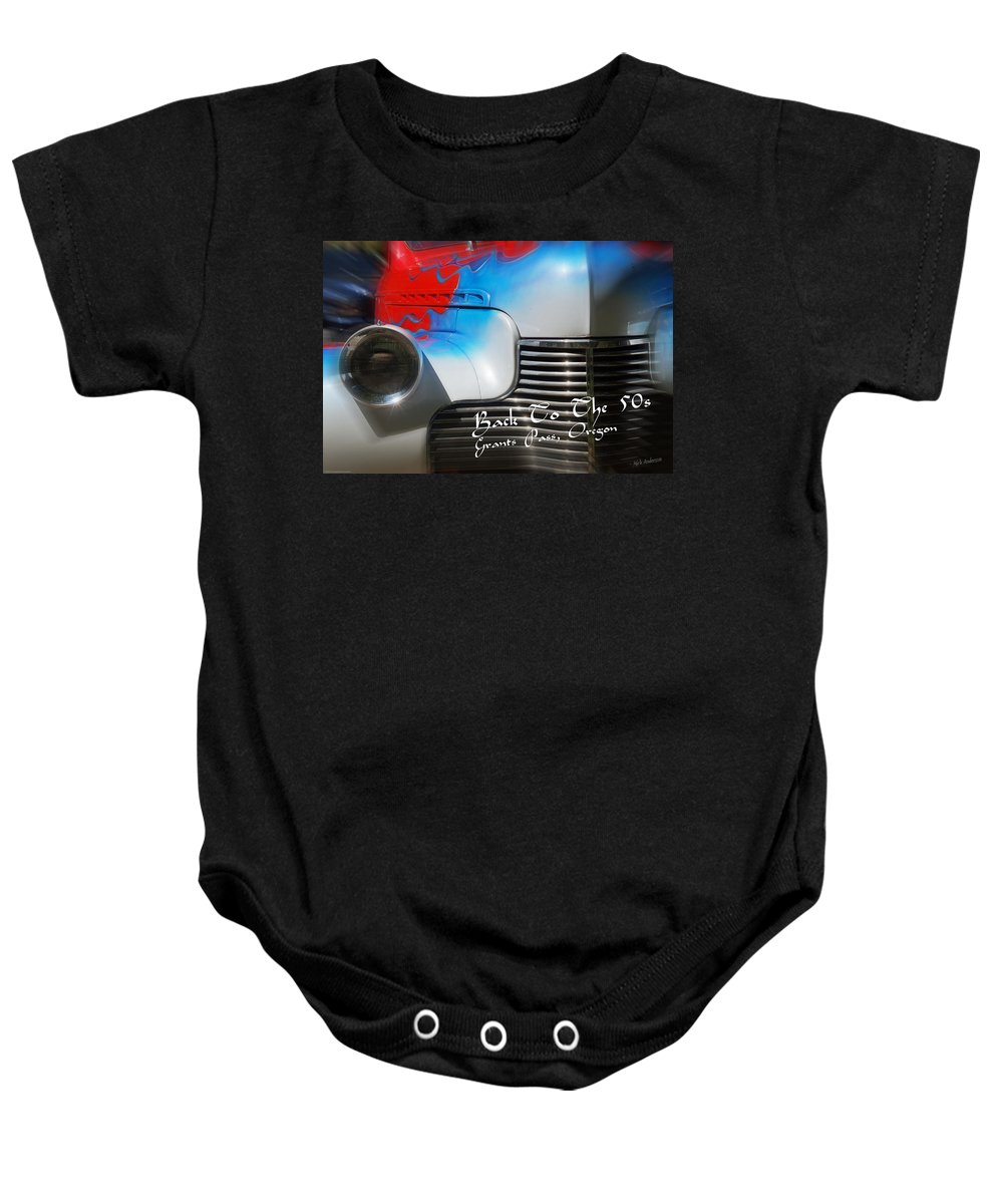 Back To The 50s Baby Onesie featuring the photograph Hot Chevy Poster And Postcard by Mick Anderson