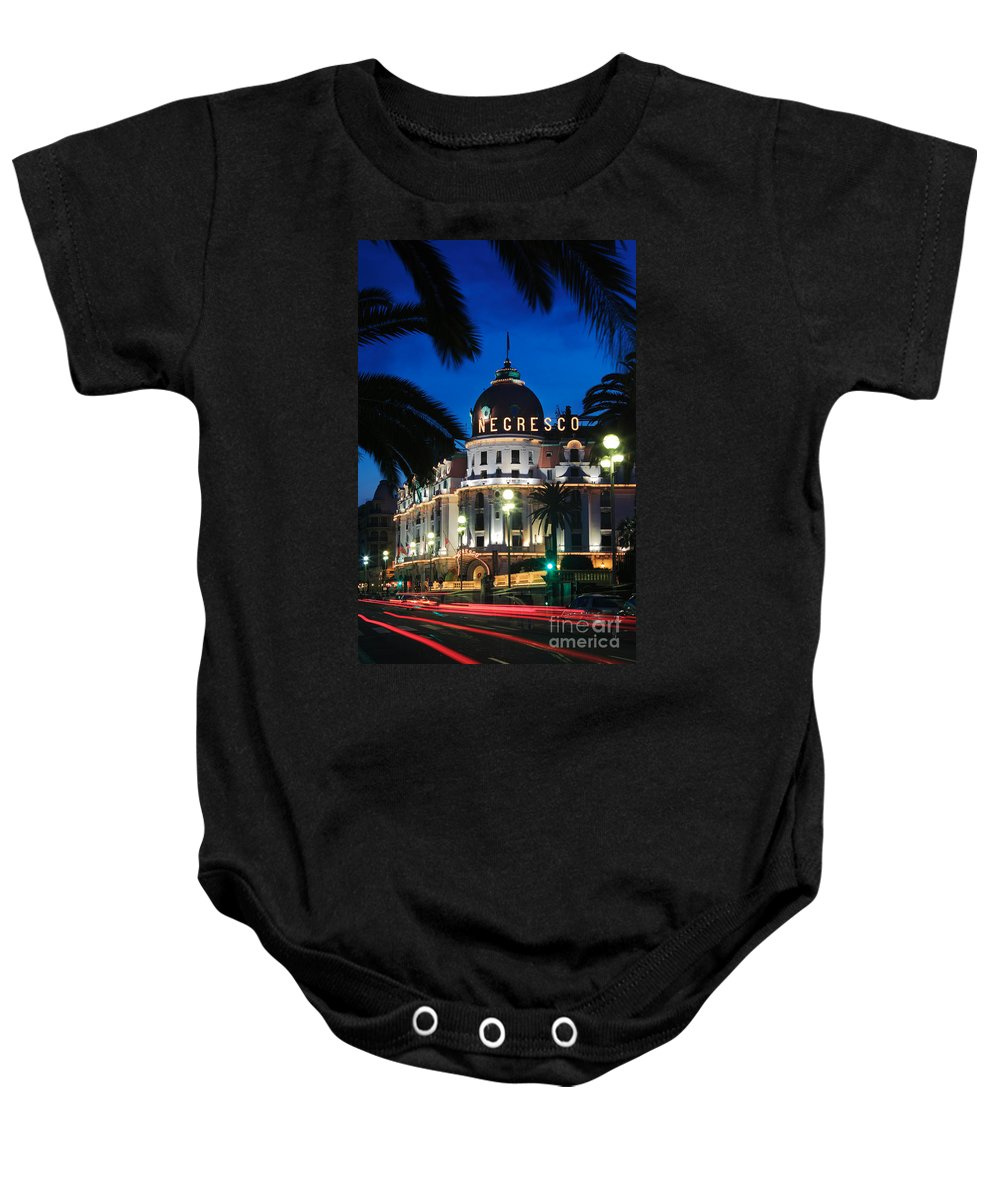 Cote D'azur Baby Onesie featuring the photograph Hotel Negresco by Inge Johnsson