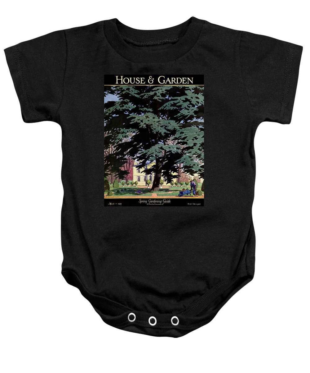 House And Garden Baby Onesie featuring the photograph House And Garden Spring Gardening Guide Cover by Pierre Brissaud