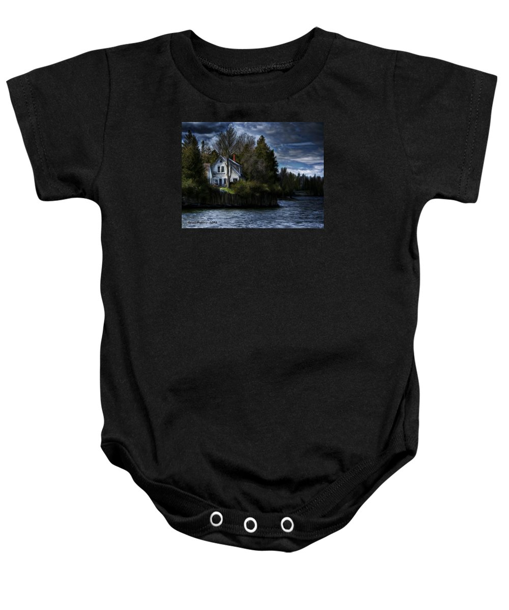 House Baby Onesie featuring the painting House On The Lake by Bruce Nutting