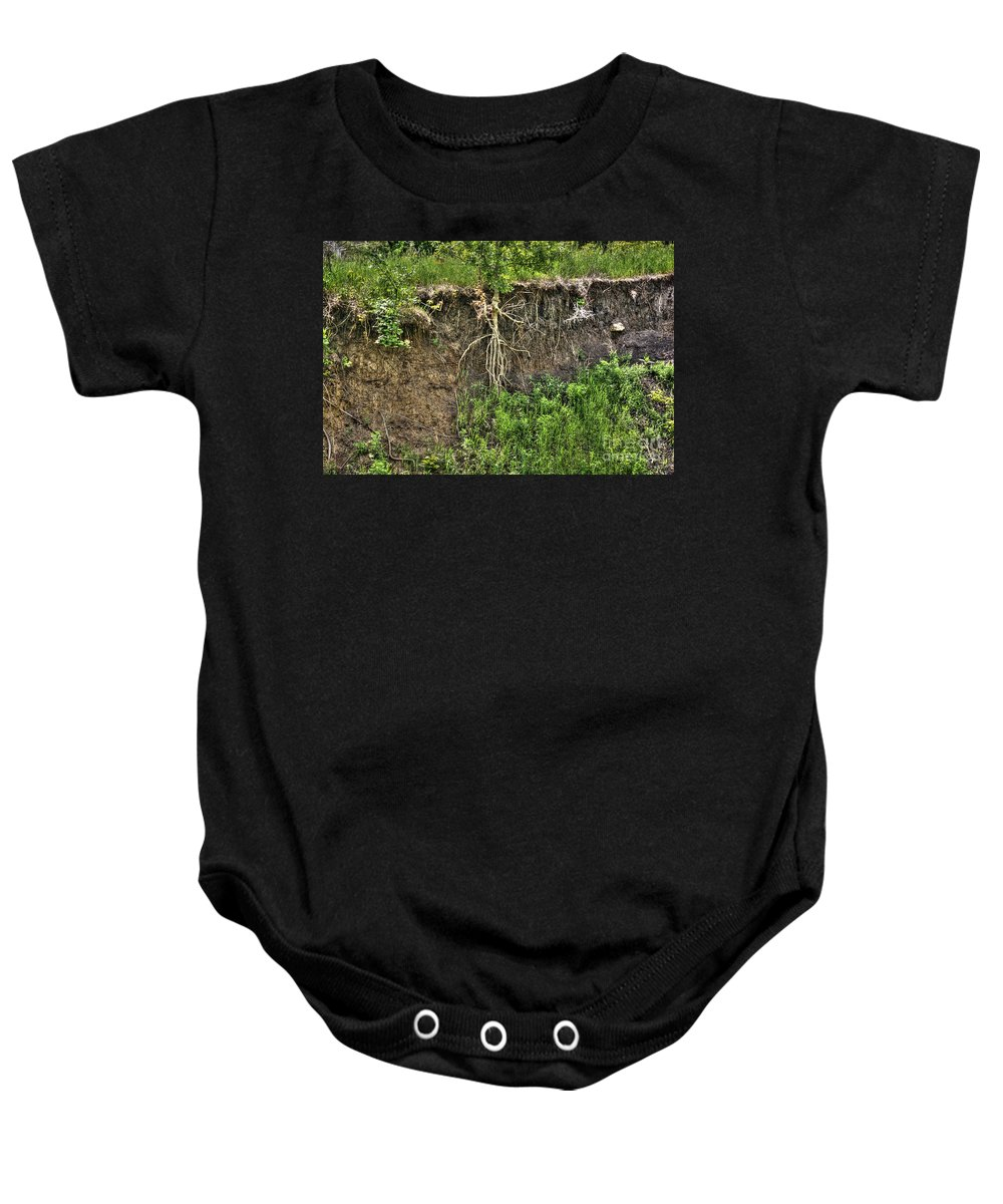 Tree Baby Onesie featuring the photograph How Long Can I Hang On by M Dale