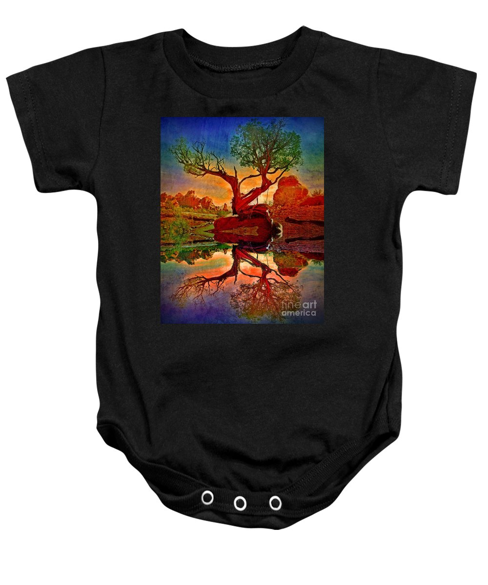 Tree Baby Onesie featuring the photograph How One Tree Becomes Two by Tara Turner