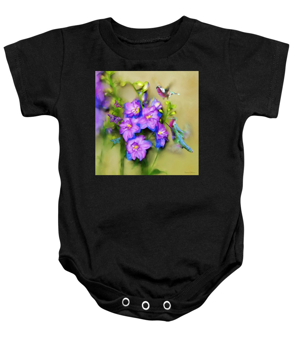 Print Of Birds Baby Onesie featuring the painting Hummingbirds Butterflies And Flowers by Susanna Katherine
