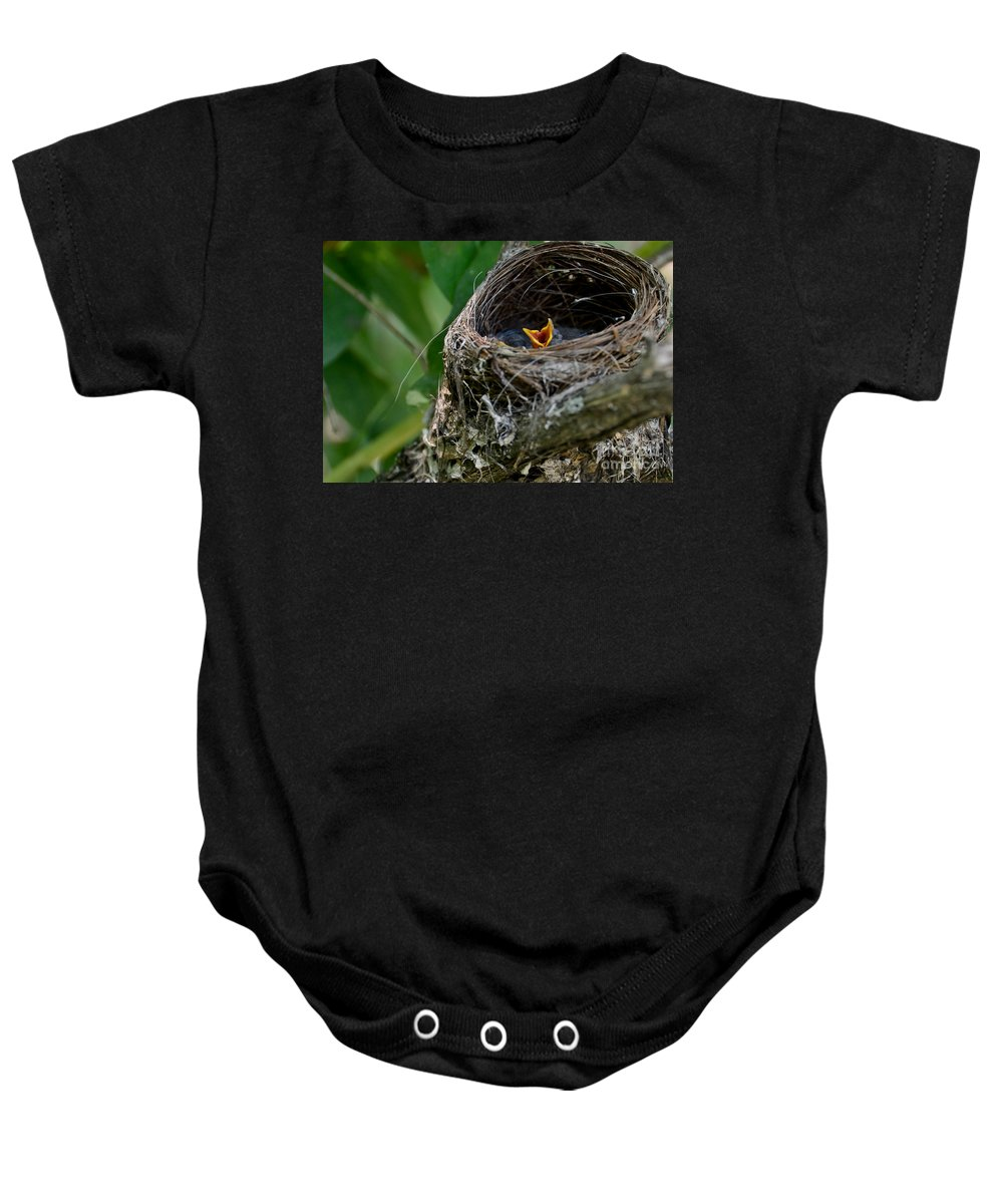 New Life Baby Onesie featuring the photograph Hungry Mouth by Cheryl Baxter