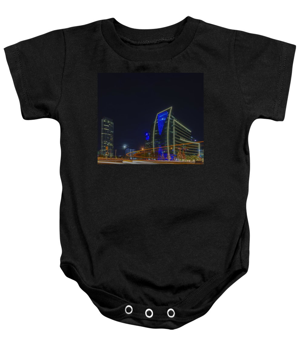 Hunt Oil Building Baby Onesie featuring the photograph Hunt Oil And Museum Tower by Jonathan Davison