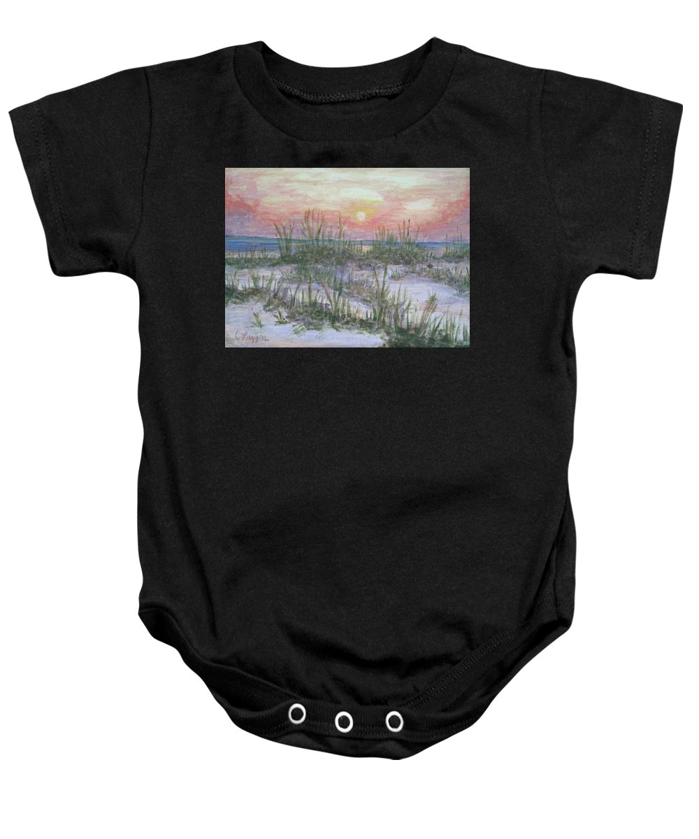 Sea Oats Baby Onesie featuring the painting Hunting Island Sea Oats by Carol Luzzi