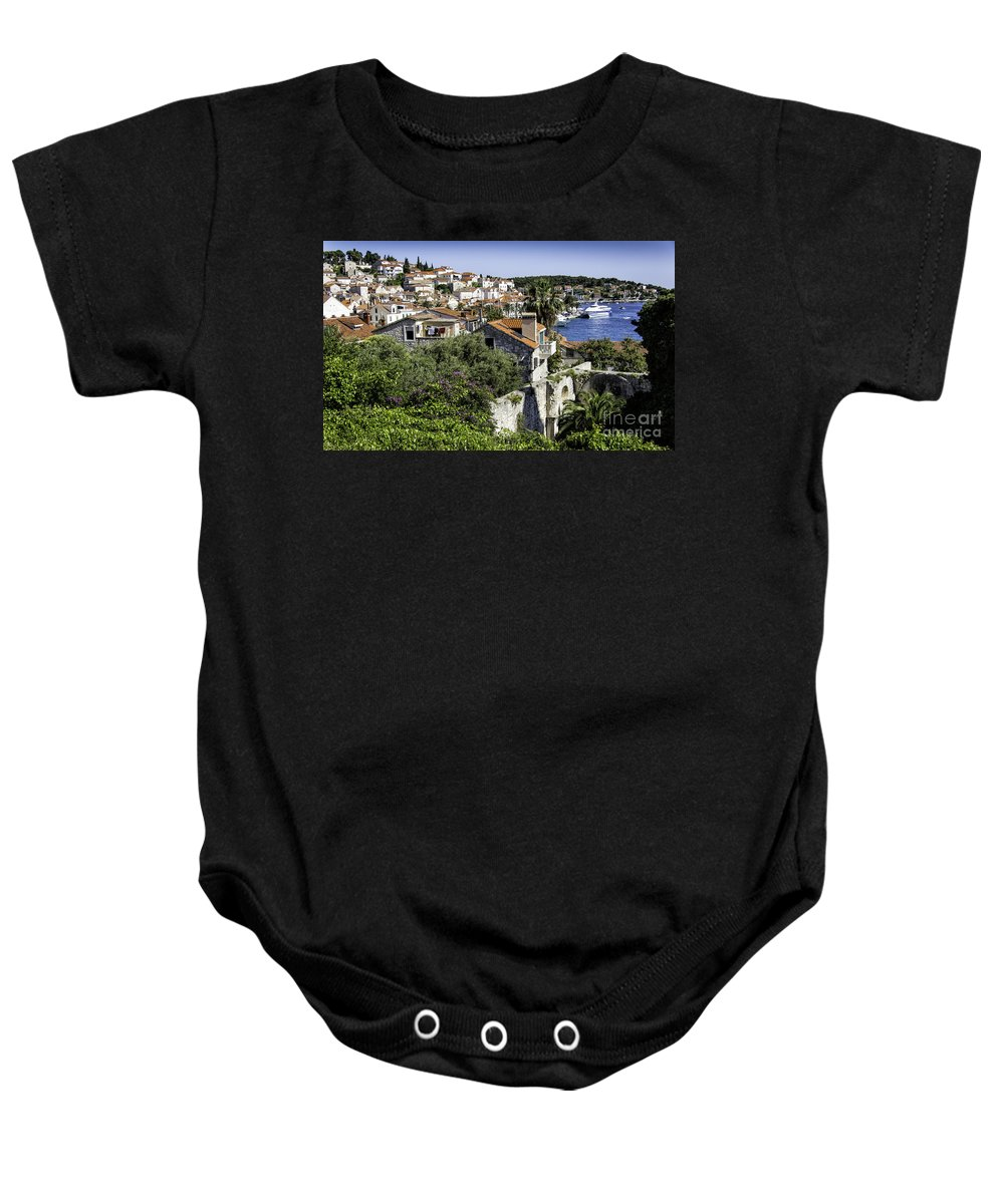 Croatia Baby Onesie featuring the photograph Hvar Harbor by Timothy Hacker