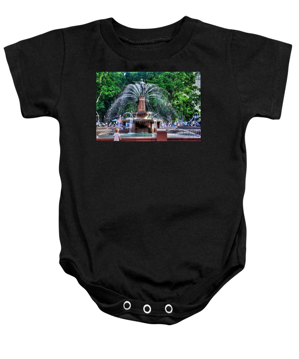 Photography Baby Onesie featuring the photograph Hyde Park Fountain by Kaye Menner