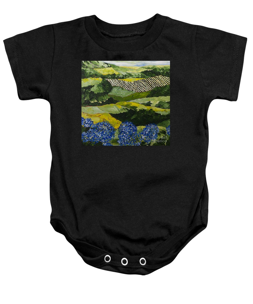 Landscape Baby Onesie featuring the painting Hydrangea Valley by Allan P Friedlander