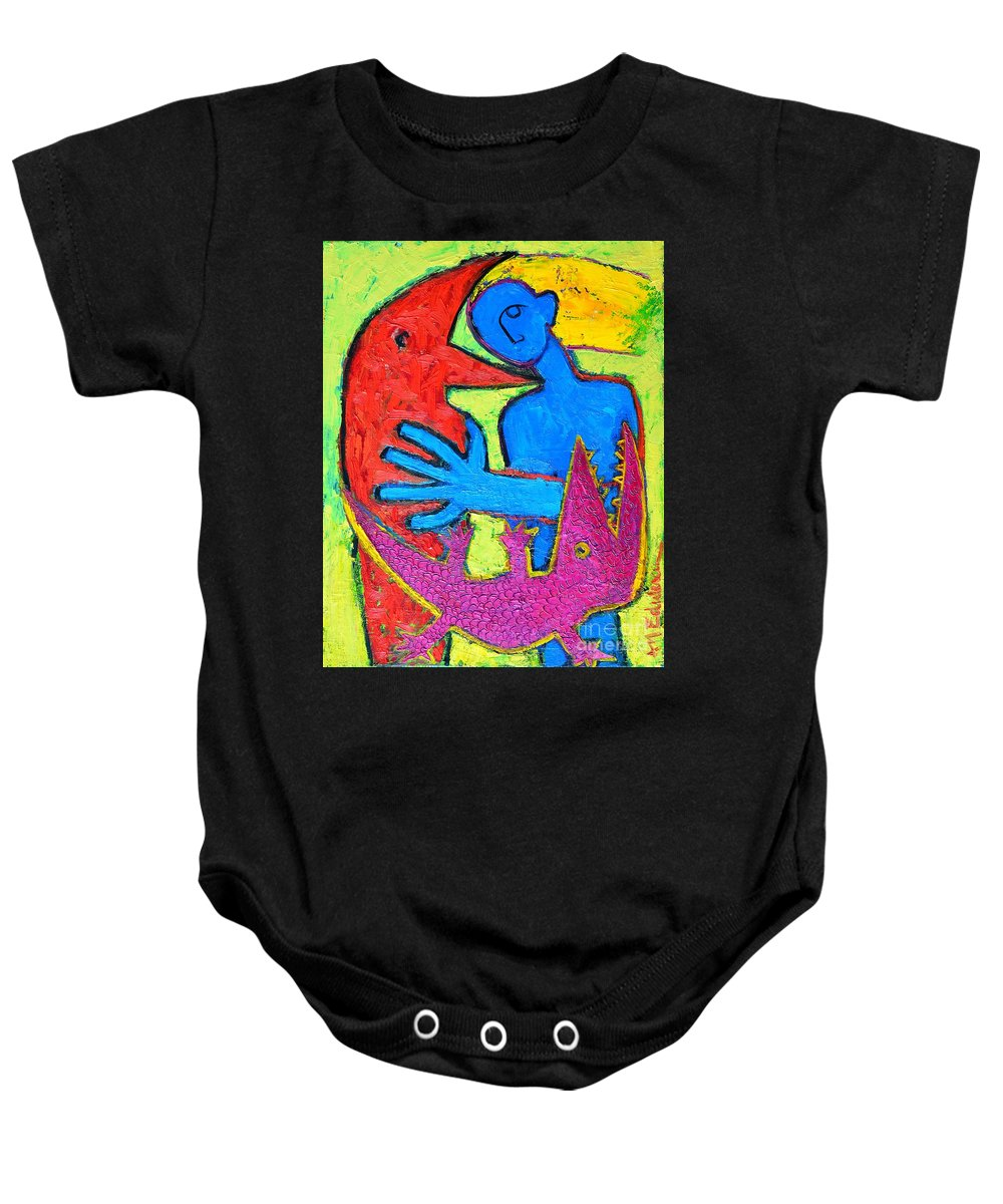 Crow Baby Onesie featuring the painting I Am Blue But Still Alive Do Not Eat Me by Ana Maria Edulescu