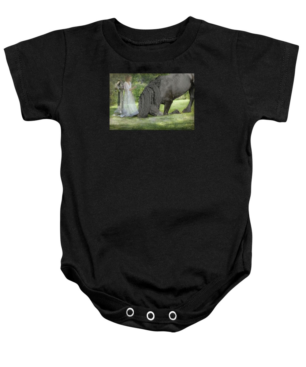 Horses Baby Onesie featuring the photograph I Miss You by Fran J Scott