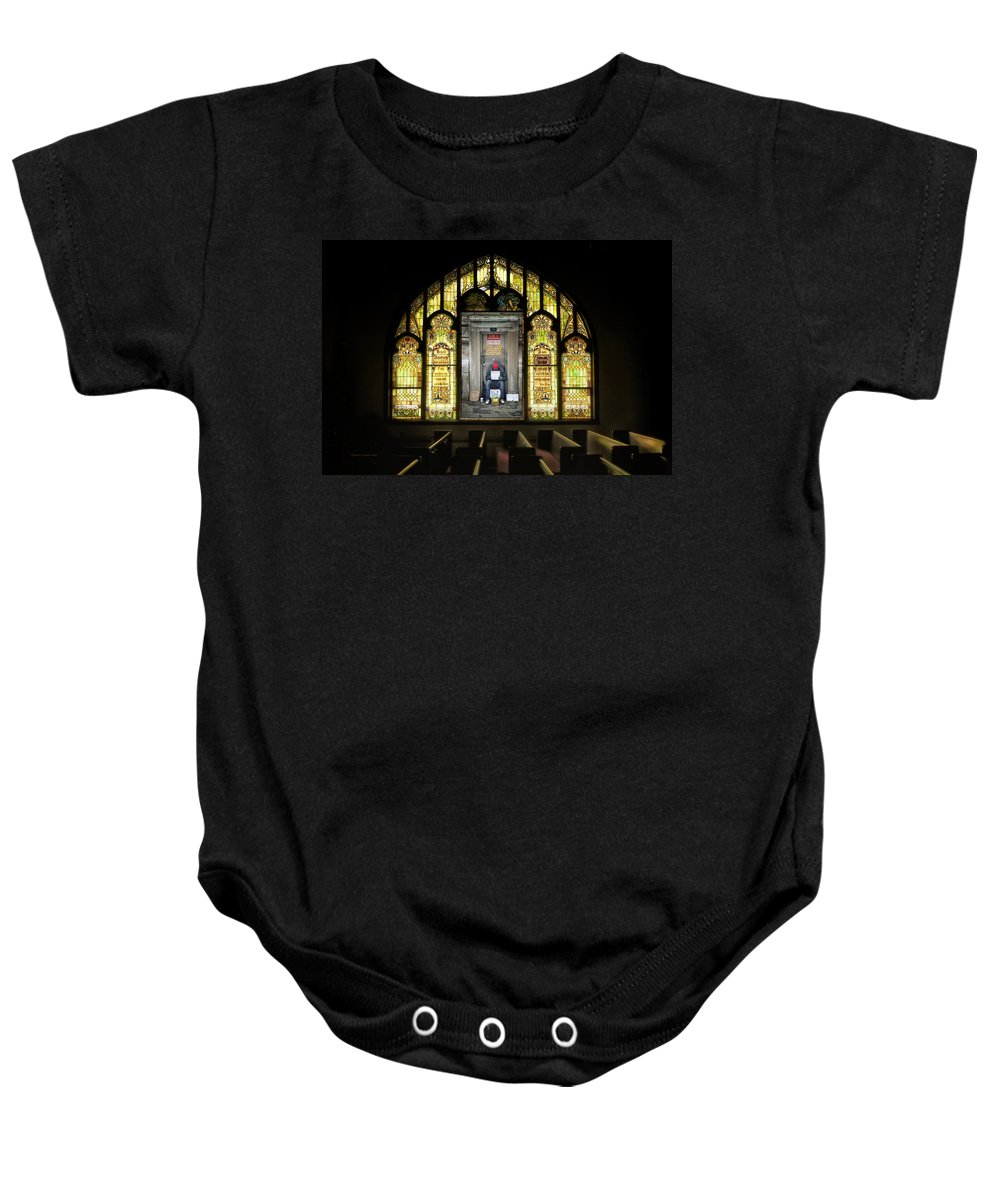 Abandoned Baby Onesie featuring the photograph I Stand At The Door And Knock Composite by Thomas Woolworth