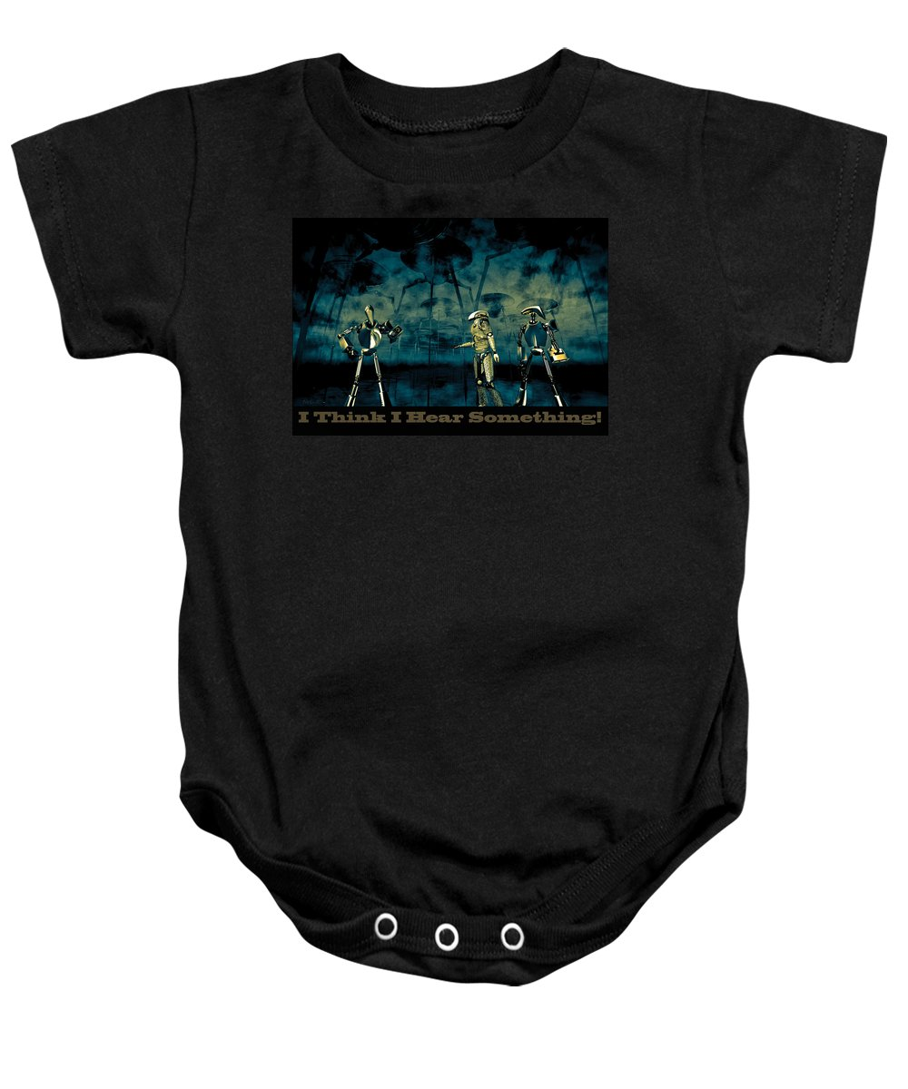Android Baby Onesie featuring the digital art I Think I Hear Something by Bob Orsillo