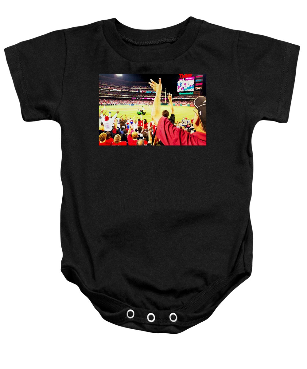 Baseball Game Baby Onesie featuring the photograph I Want One by Alice Gipson