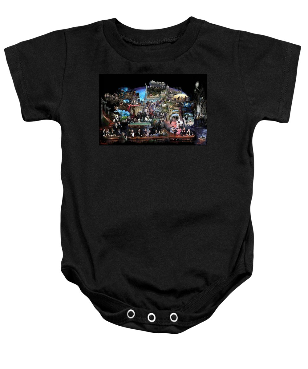 Icones Of History And Entertainment Baby Onesie featuring the mixed media Icons Of History And Entertainment by Ylli Haruni