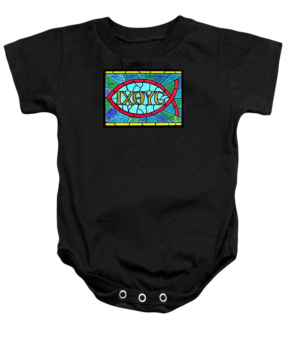 Church Baby Onesie featuring the painting Icthus Sign Of The Fish by Jim Harris