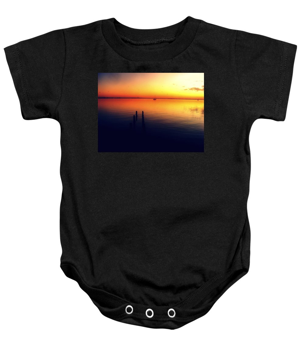 Sunrise Baby Onesie featuring the photograph Indian River Sunrise by Sunshine Richardson